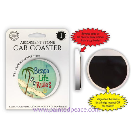 Beach Life Rules Car Coaster Or Magnet