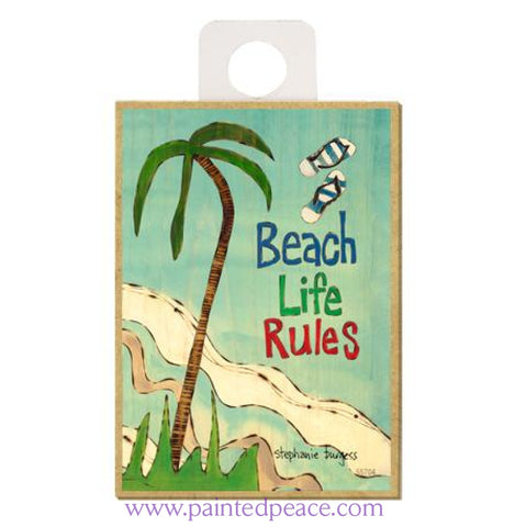 Beach Life Rules Wood Magnet - New