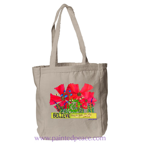 Believe There Is Good In The World Heartful Peace Book Tote One Size / Natural Tote Bag