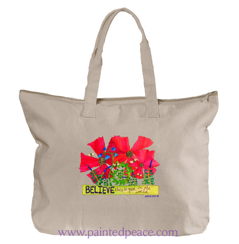 Believe There Is Good In The World Heartful Peace Tote Bag One Size / Natural Tote Bag