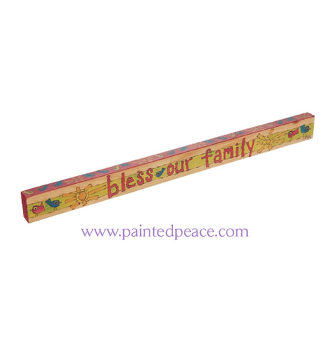 Bless Our Family - Wooden Shelf Sitter
