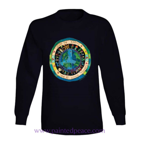 Bless The Earth Heart-Ful Long Sleeve Peace-Shirt / Black Small T-Shirt