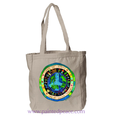 Bless The Earth Heartful Peace Book Tote One Size / Natural Book Tote