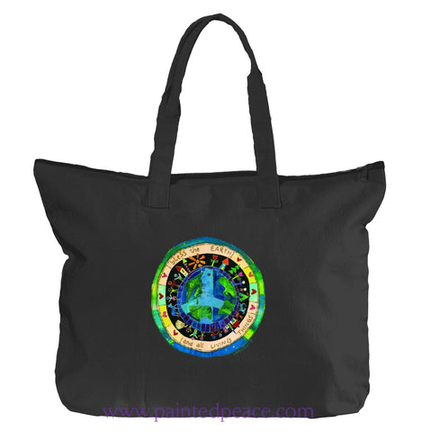 Bless The Earth Heartful Peace Tote Bag Black / One Size Tote
