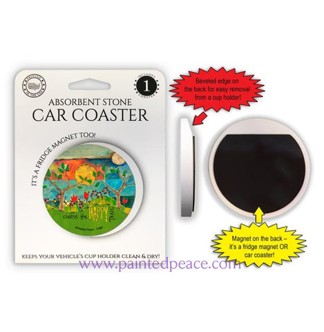 Choose The Happy Trail Car Coaster / Magnet