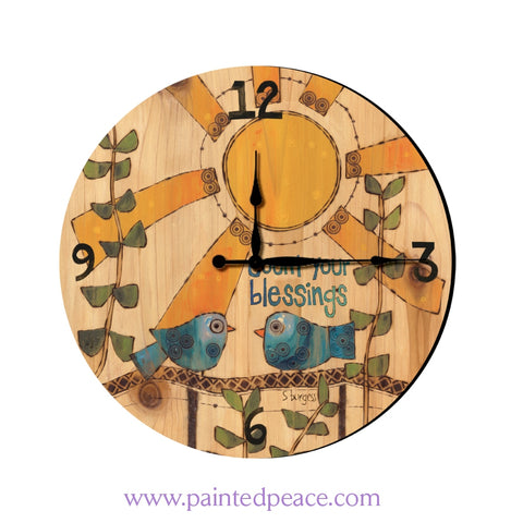 Count Your Blessings 12 Solid Wood Wall Clock