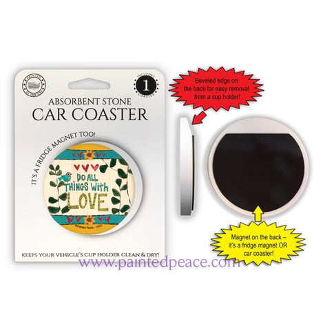 Do All Things With Love Car Coaster / Magnet