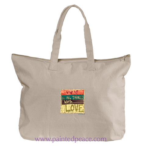 Do All Things With Love Heartful Peace Tote Bag One Size / Natural Tote Bag Large
