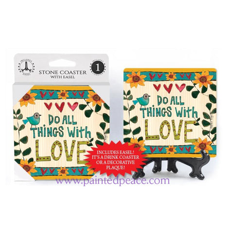 Do All Things With Love Stone Coaster