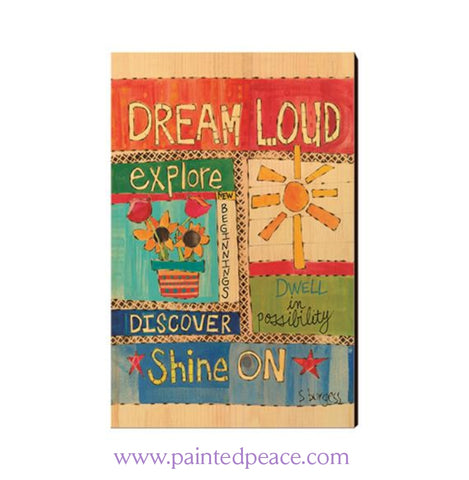 Dream Loud Wooden Post Card Mini Art