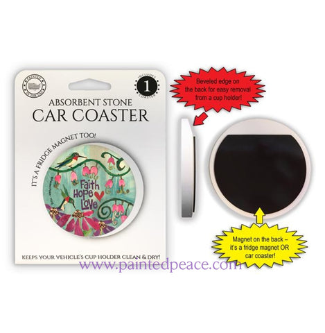 Faith Hope Love Car Coaster / Magnet