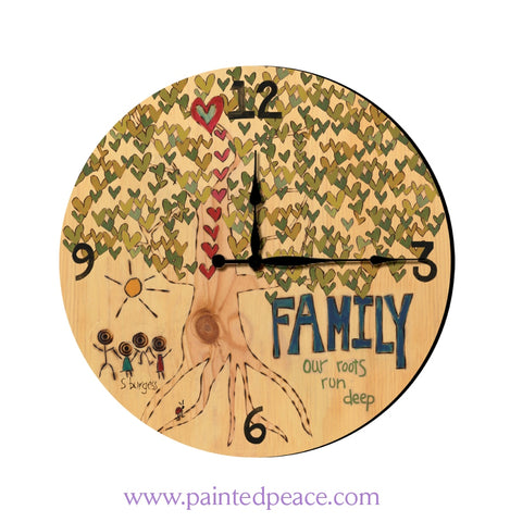 Family 12 Solid Wood Wall Clock
