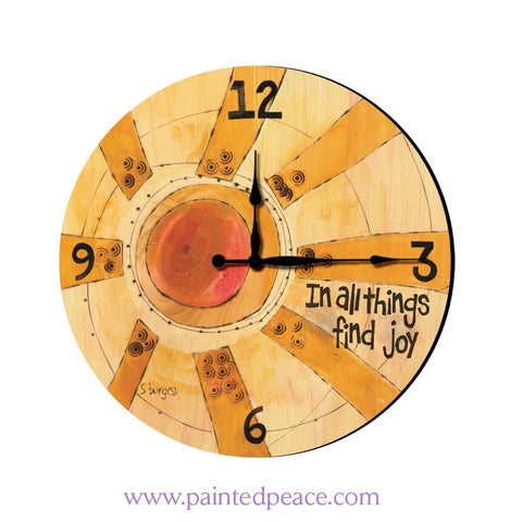 Find Joy 12 Solid Wood Wall Clock