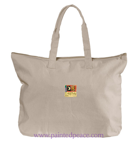 Grace And Gratitude Heartful Peace Tote Bag One Size / Natural Tote Bag Large