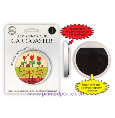 Happy Day Car Coaster / Magnet