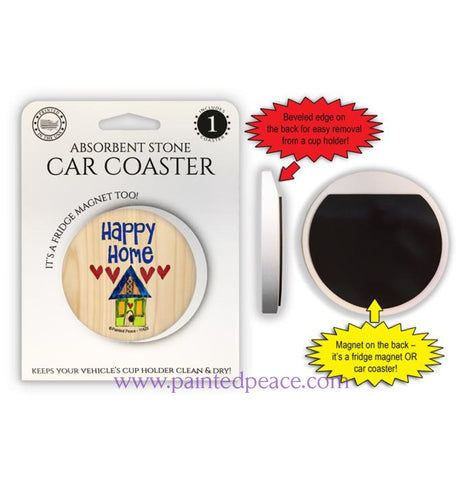 Happy Home Car Coaster / Magnet