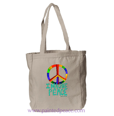 Imagine Peace Heartful Peace Book Tote Natural / One Size Tote Bag