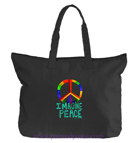 Imagine Peace Heartful Peace Tote Bag One Size / Black Tote Bag