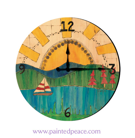 Lake And Sailboat 12 Solid Wood Wall Clock