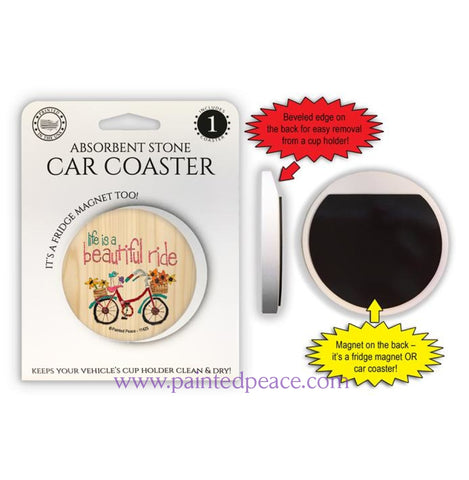 Life Is A Beautiful Ride Car Coaster / Magnet
