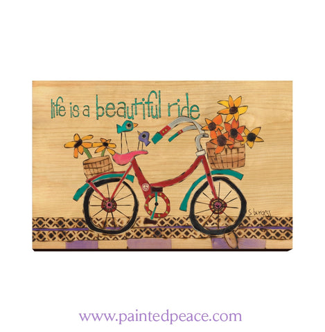 Life Is A Beautiful Ride Wooden Post Card Mini Art