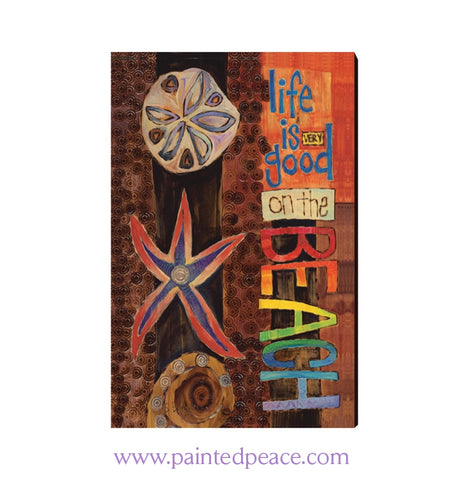 Life Is Good On The Beach Wooden Post Card Mini Art
