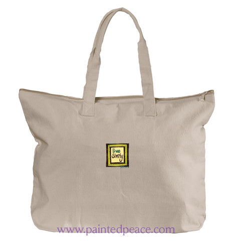 Live Simply Heartful Peace Tote Bag Natural / One Size Tote Bag Large