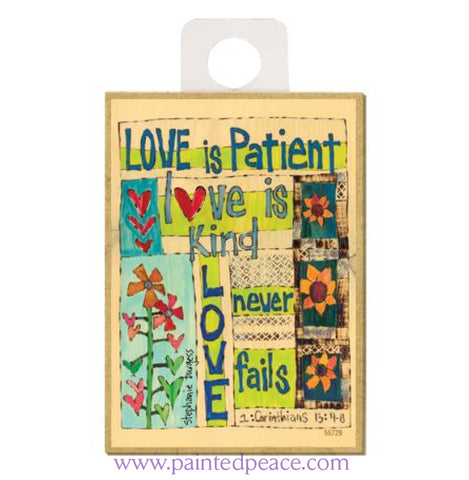Love Is Patient Wood Magnet - New