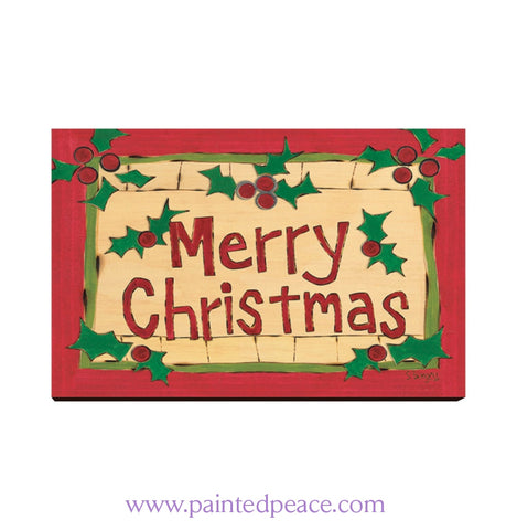 Merry Christmas Wooden Post Card
