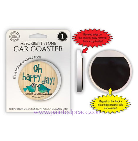 Oh Happy Day Car Coaster / Magnet