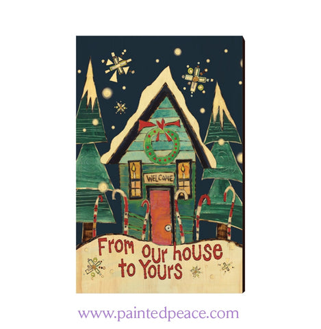 Our House Wooden Post Card