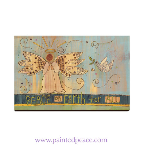 Peace Angel Wooden Post Card