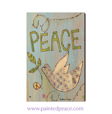 Peace Dove Wooden Post Card