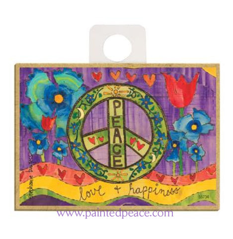 Peace Love And Happiness Wood Magnet - New