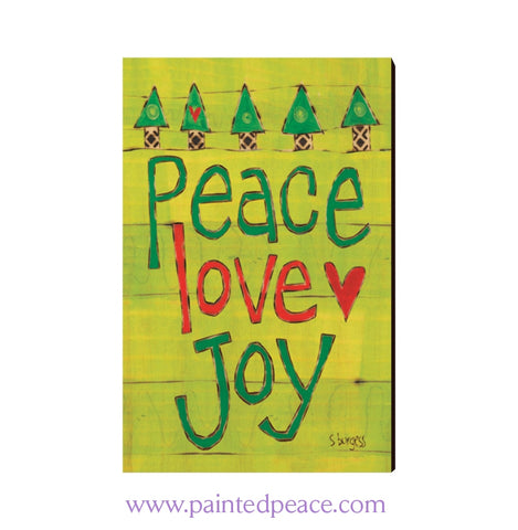 Peace Love Joy Wooden Post Card