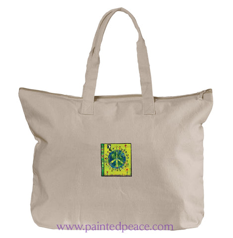 Peace On Earth Heartful Peace Tote Bag One Size / Natural Tote Bag