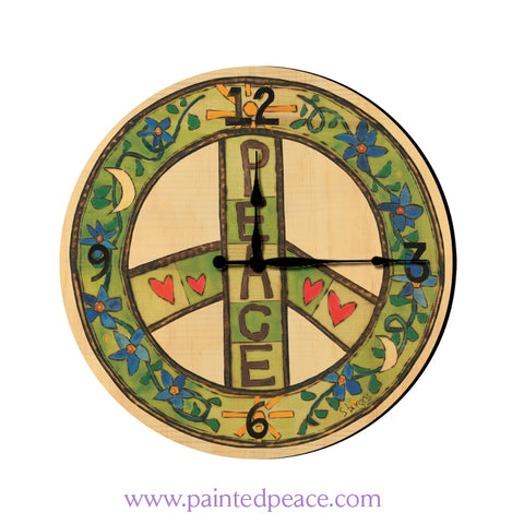 Peace 12 Solid Wood Wall Clock