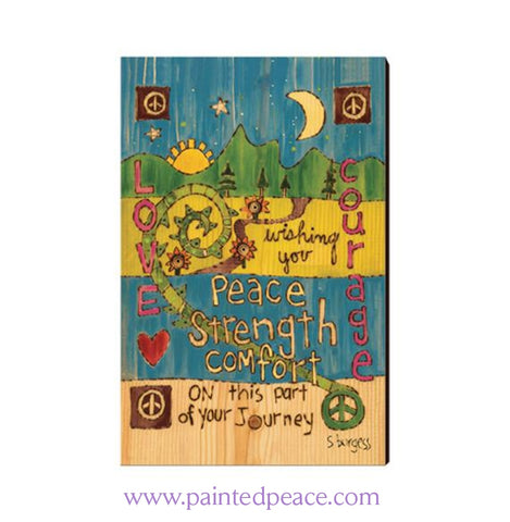 Peace Strength And Comfort On This Journey Wooden Post Card Mini Art