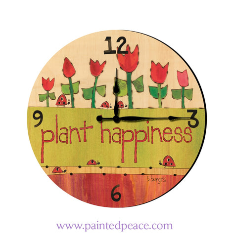 Plant Happiness 12 Solid Wood Wall Clock