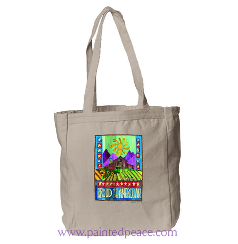 Proud To Be American Heartful Peace Book Tote Natural / One Size Book Tote