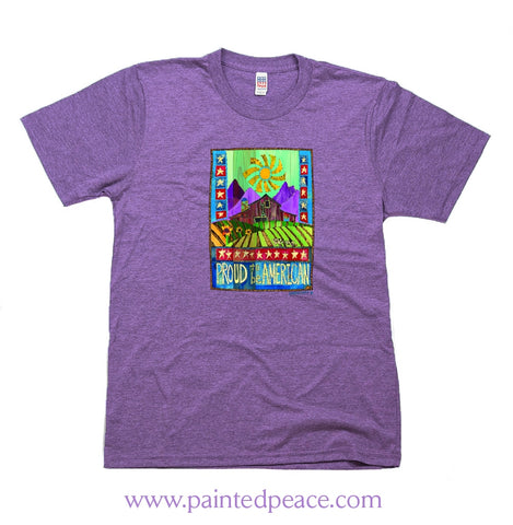 Proud To Be American Heartful Peace-Shirt Economy Tee Heather Purple / X-Small Economy Tee