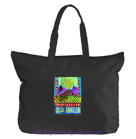 Proud To Be American Heartful Peace Tote Bag One Size / Black Tote Bag Small