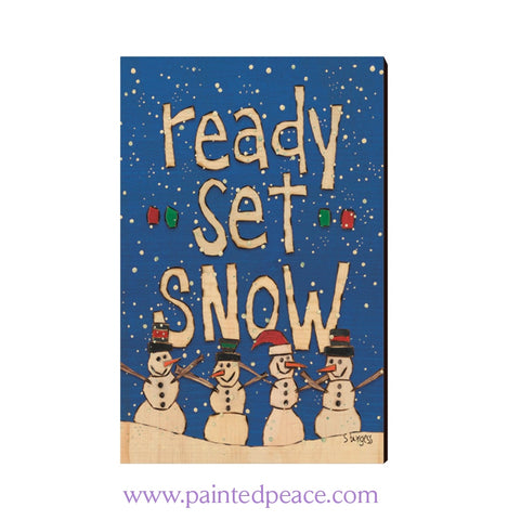 Ready Set Snow Wooden Post Card