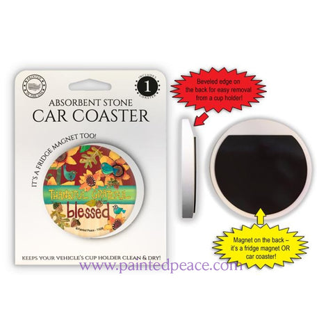 Thankful Grateful Blessed Car Coaster / Magnet
