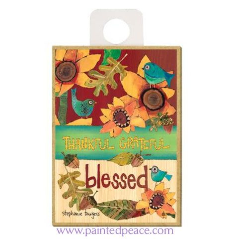 Thankful Grateful Blessed Wood Magnet - New