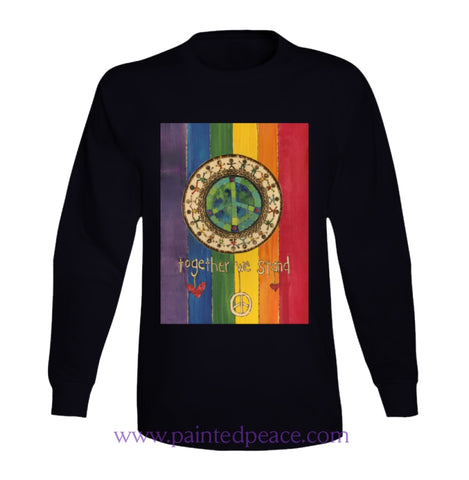 Together We Stand Heartful Long Sleeve Peace-Shirt / Black Small T-Shirt