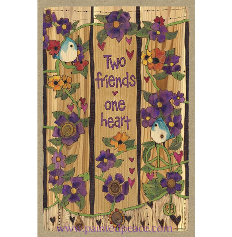Two Friends One Heart Wooden Sign