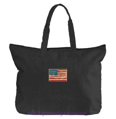 United We Stand Heartful Peace Tote Bag One Size / Black Tote Bag