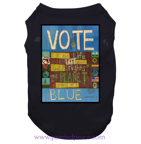 Vote Blue Dog Heartful Peace-Shirt Dog / Black Small T-Shirt