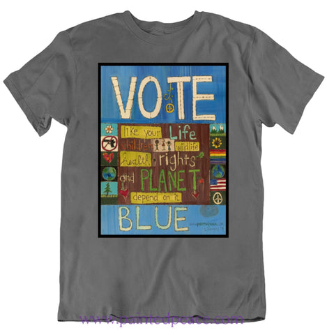 Vote Blue Heartfelt Classic Peace-Shirt / Charcoal Grey Small T-Shirt